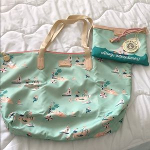 Spartina 449 packable tote and wristlet Ahoy print
